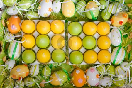 Background easter egg decoration stock photo, Background easter egg decoration in green, yellow and white by Colette Planken-Kooij