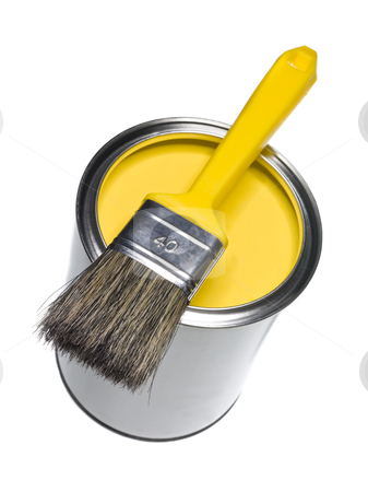 Yellow Paint can and brush stock photo, Yellow Paint can and brush isolated on white background by Anne-Louise Quarfoth