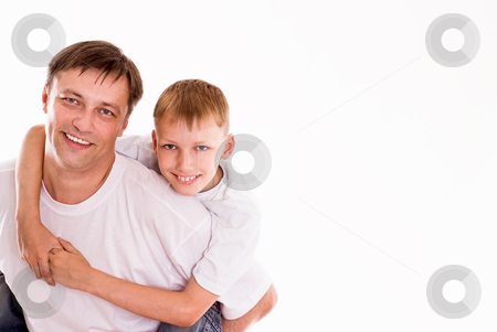 Dad playing with his son  stock photo, dad playing with his son on a white background by Alevtina Guzova