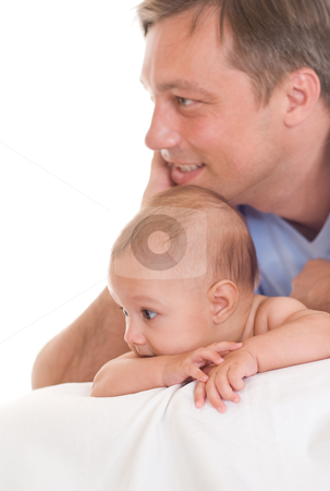 Father and his daughter  stock photo, Father and his daughter on the white by Alevtina Guzova