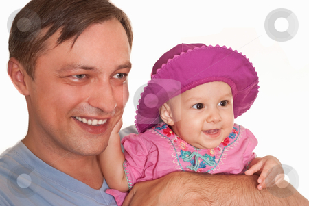 Father and his daughter stock photo, Father and his daughter on a wite by Alevtina Guzova