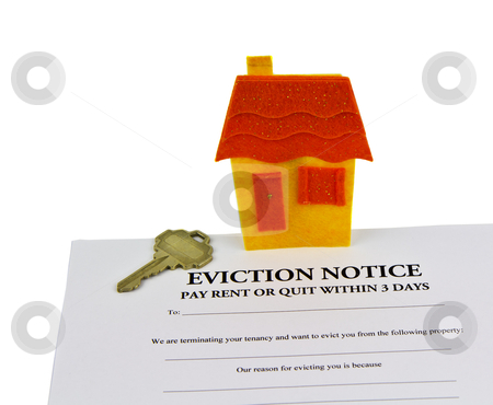 Eviction Notice stock photo, Eviction notice paper, house key, and small house  by tab62