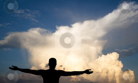 Young Man on clouds, black silhouette  stock photo, young Man on clouds, black silhouette  by tomwang
