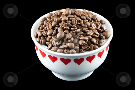 I love coffee beans stock photo, Picture of some coffee beans in a white heart yar by Stian Olsen