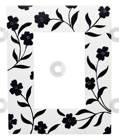 Frame with flowers stock photo, Frame with flowers isolated on white background by Anne-Louise Quarfoth