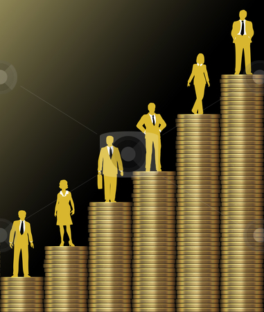 Investors grow wealth on gold coin stack chart stock photo, Investment people stand on chart of  economic growth as graph of stacks of gold coins by Michael Brown