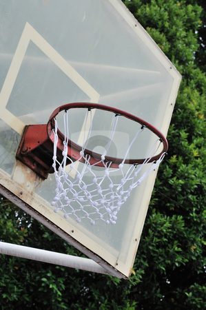Close up of basketball hoop stock photo, Close up of basketball hoop and net. For concepts such as sports and exercise, and healthy lifestyle. by Wai Chung Tang