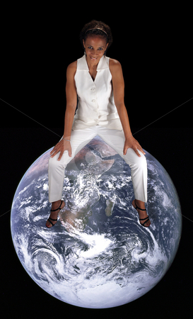 Beautiful Mature Black Woman Sitting on the Earth stock photo, A lovely mature black woman sits straddle-style on the earth.  This photo is available without the earth.  Earth photo credit:  NASA, public domain. by Carl Stewart