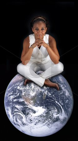 Beautiful Mature Black Woman Sitting on the Earth (2) stock photo, A lovely mature black woman sits on the earth with her legs crossed.  This photo is available without the earth.  Earth photo credit:  NASA, public domain. by Carl Stewart