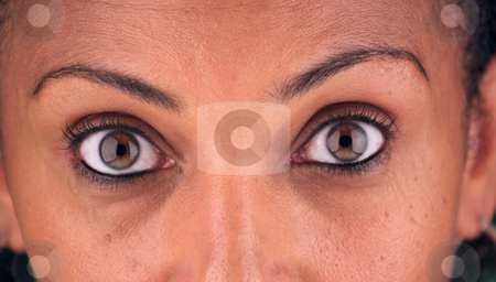 Intense Eyes stock photo, Close-up of the eyes of a beautiful mature black woman. by Carl Stewart