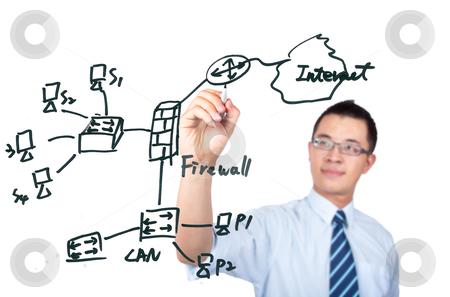 young computer Engineer drawing a internet network diagrame stock photo, young computer Engineer drawing a internet network diagrame by tomwang