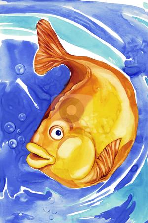 Beautiful gold fish in blue water stock photo, illustration of beautiful gold fish in blue water by Igor Zakowski