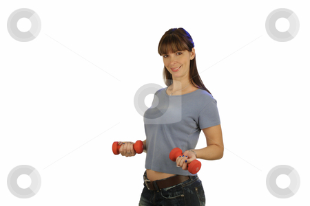 Beautiful Brunette with Hand Weights (3) stock photo, A lovely young brunette wearing casual attire, holds a pair of hand weights. by Carl Stewart