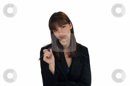 Beautiful Brunette Businesswoman with an Ink Pen (1) stock photo, A lovely young brunette businesswoman holds an ink pen, looking directly at the viewer with a friendly smile. by Carl Stewart