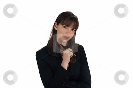 Beautiful Brunette Businesswoman with an Ink Pen (2) stock photo, A lovely young brunette businesswoman holds an ink pen, looking directly at the viewer with a friendly smile. by Carl Stewart