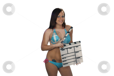 Bikini-clad Brunette with Movie Slate (2) stock photo, A lovely young brunette wearing a bikini with a nautical theme, holds a movie slate against a plain, white background. by Carl Stewart