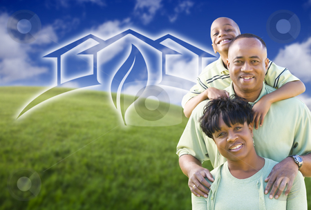 Happy African American Family and Green House Graphic in Field stock photo, Happy African American Family and Green House Graphic in Grass Field. by Andy Dean