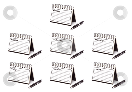 Days of the Week Spiral Note Pads and Pen stock photo, The Seven Days of the Week Spiral Note Pads and Pen Isolated on White - XXXL. by Andy Dean