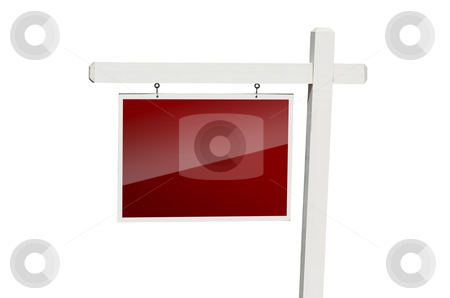 Blank Red Real Estate Sign on White stock photo, Blank Red Real Estate Sign Isolated on a White Background with Clipping Path. by Andy Dean