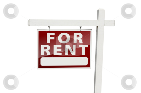 For Rent Real Estate Sign on White stock photo, For Rent Real Estate Sign Isolated on a White Background with Clipping Path. by Andy Dean
