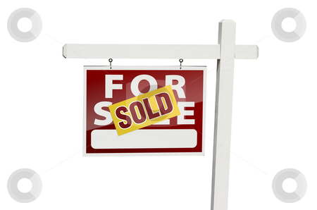Red Sold For Sale Real Estate Sign on White stock photo, Red Sold For Sale Real Estate Sign Isolated on a White Background with Clipping Path. by Andy Dean