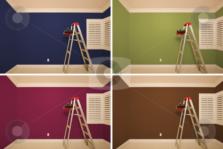 Set of Empty Rooms Painted in Variety of Colors stock photo, Set of Empty Rooms Painted in Variety of Colors with Ladder, Rollers and Tray. by Andy Dean