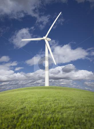 Wind Turbine Over Grass Field, Dramatic Sky and Clouds stock photo, Single Wind Turbine Over Grass Field, Dramatic Sky and Clouds. by Andy Dean