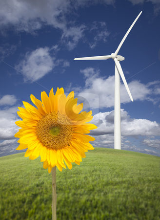 Wind Turbine Against Dramatic Sky with Bright Sunflower stock photo, Wind Turbine Against Dramatic Sky, Clouds and Bright Sunflower in the Foreground.  by Andy Dean