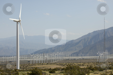 Dramatic Wind Turbine Farm stock photo, Dramatic Wind Turbine Farm in the Desert of California. by Andy Dean