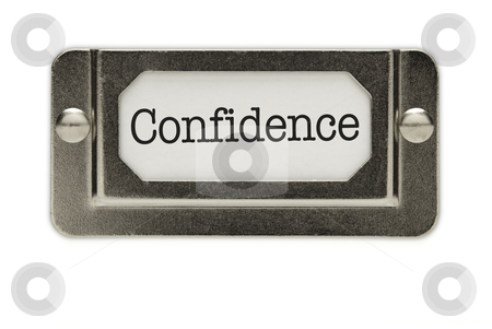 Confidence File Drawer Label stock photo, Confidence File Drawer Label Isolated on a White Background. by Andy Dean