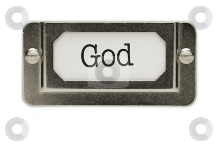 God File Drawer Label stock photo, God File Drawer Label Isolated on a White Background. by Andy Dean
