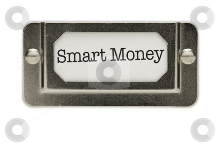 Smart Money File Drawer Label stock photo, Smart Money File Drawer Label Isolated on a White Background. by Andy Dean
