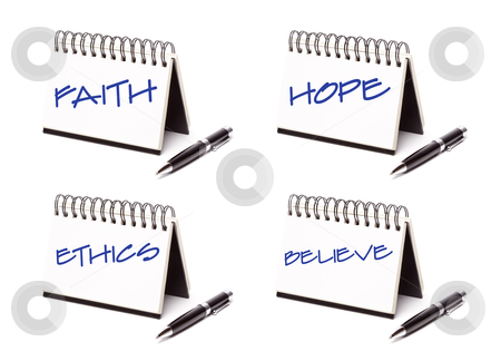 Spiral Note Pad and Pen Series stock photo, Spiral Note Pad and Pen Series Isolated on White - Faith, Hope, Ethics and Believe - XXXL. by Andy Dean