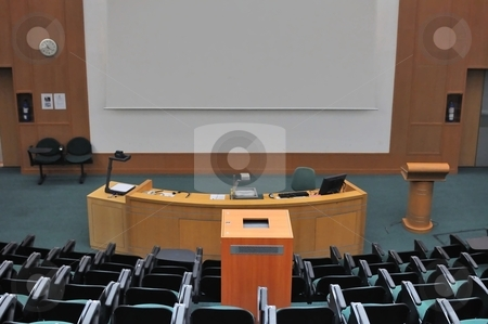 School lecture theater stock photo, Lecture theater showing white screen. For concepts such as school and education, business and training, and meetings and conferences. by Wai Chung Tang