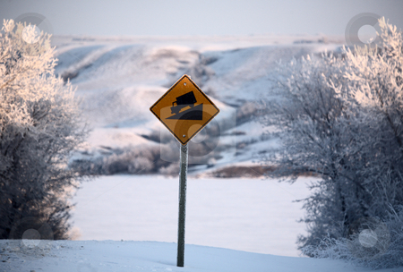 Road sign and view of Buffalo Pound Lake in winter stock photo, Road sign and view of Buffalo Pound Lake in winter by Mark Duffy