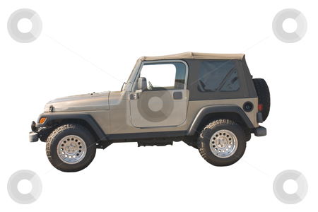 Rugged SUV convertible stock photo, rugged brown SUV convertible with knobby offroad tires by Lee Barnwell