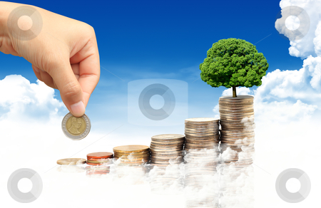 Invest. Conceptual image.  and lot of coins over blue sky backgr stock photo, Invest. Conceptual image.  and lot of coins over blue sky background by rufous