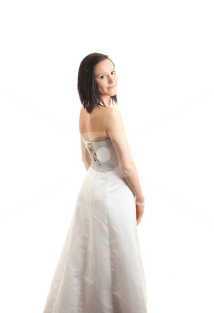 Young womand dress back isolated stock photo, a young woman in a white dress looking backward over her shoulder isolated on white by Jerax