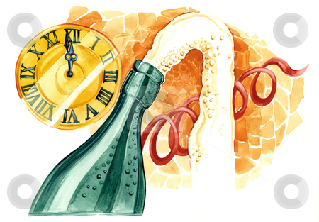 Happy new year stock photo, watercolor illustration of new year celebration by Igor Zakowski