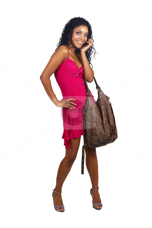 Beautiful brunette woman  stock photo, Beautiful brunette woman wearing pink cocktail dress and leopard print bag smiling on white background. Not isolated  by Elena Weber (nee Talberg)