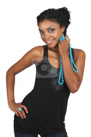 Beautiful brunette woman  stock photo, Beautiful brunette woman wearing party clothes and accessories smiling on white background by Elena Weber (nee Talberg)