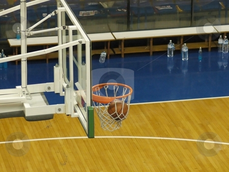 Ball inside the basket stock photo, Ball inside the basket by Albo