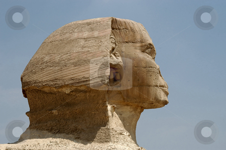 Sphinx head stock photo, Sphinx at Giseh, Cairo, Egypt by Albo