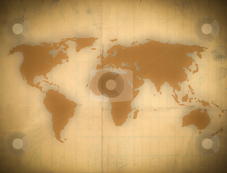 An old paper earth map  stock photo, an old paper earth map by rufous