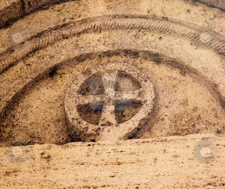 Ancient Stone Jersualem Cross Saint Francis Church Facade Mediev stock photo, Ancient Stone Jerusalem Cross Saint Francis Church Facade Medieval Town San Gimignano Tuscany Italy by William Perry