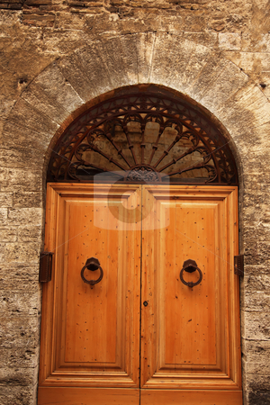 Ancient White Oak Door Medieval Stone Town San Gimignano Tuscany stock photo, Ancient White Oak Door Doorway Medieval Stone Town San Gimignano Tuscany Italy by William Perry