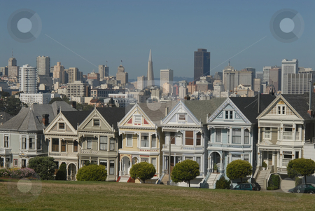"Victorian houses stock photo, Famous seven victorian houses called ""Seven Ladies"" in San Francisco, California by Albo"