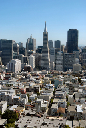 San Francisco downtown stock photo, View of San Francisco downtown from the Coit Tower by Albo