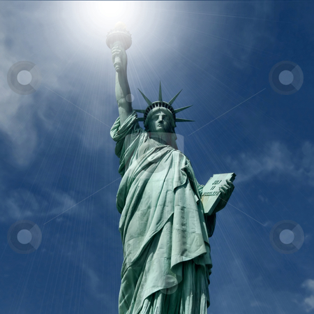 Statue of Liberty stock photo, Statue of Liberty National Monument, New York City (artificial light added)                        by Albo