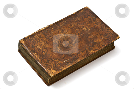 Old book closeup stock photo, Old book isolated on white background by Ingvar Bjork